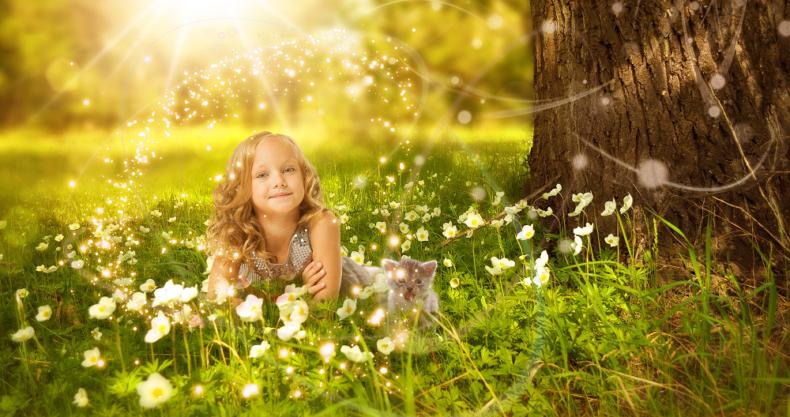 自然、女の子、光