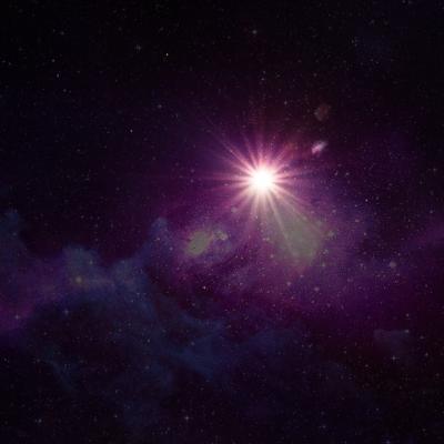 宇宙、紫の光、闇