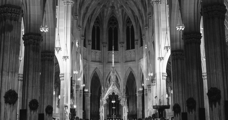 教会、聖堂、白黒