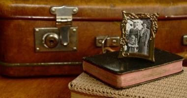 古い鞄,写真,本