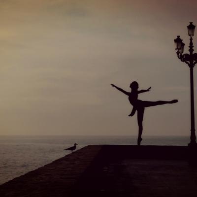 海、空、防波堤、女性