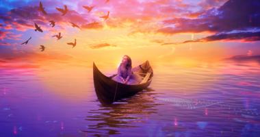 空、海、船、女の子、鳥