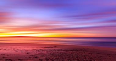 夕焼け、朝焼け、空、海