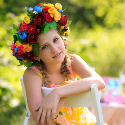 女の子、花冠、笑顔