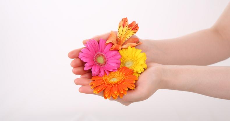 手のひら、花