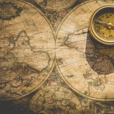 地図、方位磁石