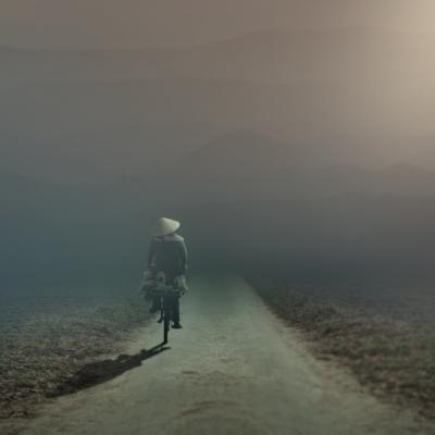 道、自転車、人