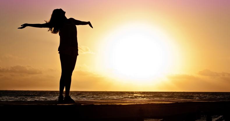 太陽、夕日、女性