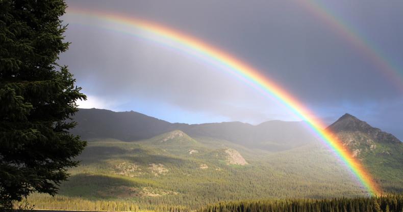 虹、山、草原