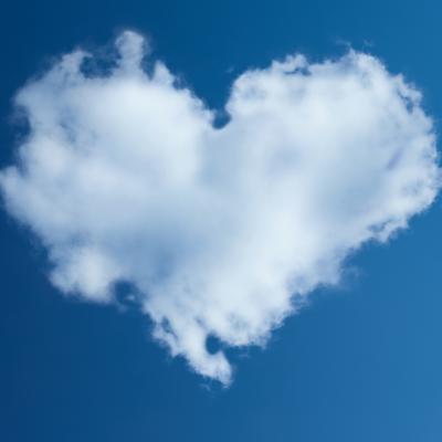 ハート、雲、青空