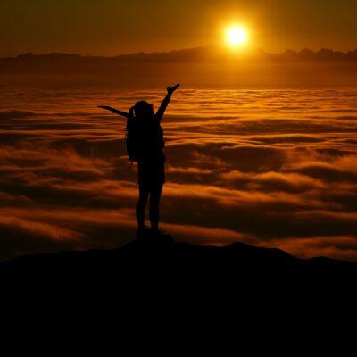 雲海、女性、太陽